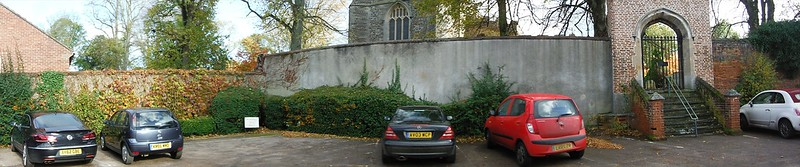 Existing boundary with St. Gregory's Church, to be retained as parking to the building frontage.