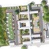 Option 1 Masterplan for Walnuttree Hospital to show a contemporary new build unit with green roofs, alongside the hospital conversion, containing 6 individual courtyards, with parking to the frontage.