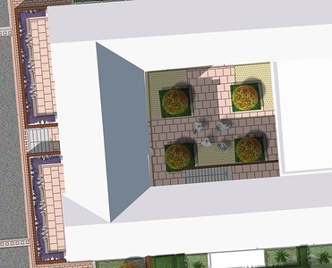 Plan of Courtyard 3, with detailed images of design elements to follow.
