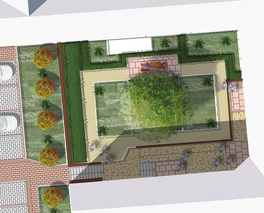 Plan of Courtyard 4 with detailed images of design elements to follow.