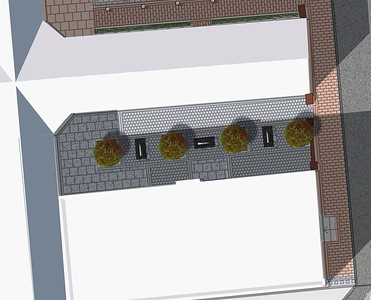 Plan of Courtyard 6, with detailed images of design elements to follow.