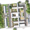 Option 2 Masterplan for Walnuttree Hospital to show a traditional pair of terraces as new build elements, alongside the hospital conversion, containing 6 individual courtyards, with parking to the frontage.
