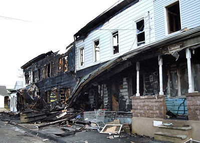 The aftermath of a massive fire on Howard Street in Frackville early Sunday morning.
