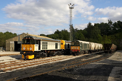 Their duties finished for the day, 20096+20905 and D8056 rest at the bottom of the yard at Hope cement works on 16/09/2005.