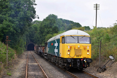 On 22/07/2005 56057 along with a short permanent way train was chartered by the EMRPS. The next twenty two images illustrate the days events. Here 56057 is pictured in Wansford Cutting prior to its first run past of the day.