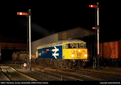 With the road clear, 56057 has all lights illuminated and prepares to move off at Wansford on 26/02/2006.