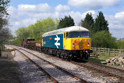 With a quick check that all is clear, 56057 prepares for the off at Yarwell Mill on 28/04/2006.