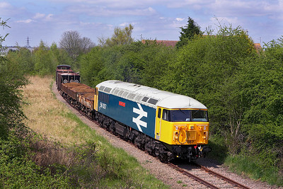 56057 is photographed from the London Road overbridge on the Fletton Branch during the EMRPS Photo Charter of 28/04/2006.