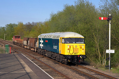 56057 arrives at Orton Mere on 28/04/2006.