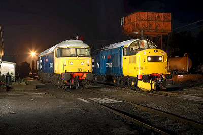 47401 & 37314 stand on shed at Butterley during an EMRPS Photo Charter on 03/02/2007.