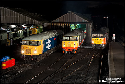 Believed to be the first time that three Grids have been lined up alongside each other in preservation. 56057, 56098 & 56003 stand on Wansford TMD on 24/02/2007