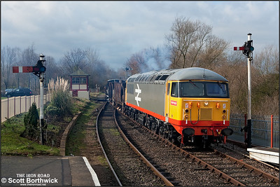 56098 had failed to start at Wansford and had to be dragged to the first location by 56003. Whilst waiting for a few rays of sunshine 56098 was successfully started and is seen here smoking away in typical fashion at Orton Mere on 24/02/2007.