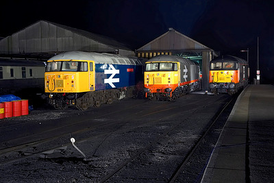 56057, 56098 & 56003 stand on Wansford TMD on 24/02/2007.