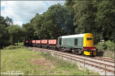 20154 runs through the loop at Dilhorne Park before running down the bank to Foxfield Colliery with a short rake of empties on 13/07/2008.