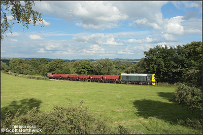 In a delightfully rural landscape, 20154 nears the summit of Foxfield bank at Dilhorne Park on 13/07/2008.