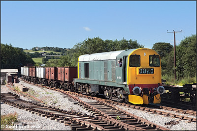 20154 shunts Foxfield Colliery Sdgs on 13/07/2008 prior to working the first train of the day.