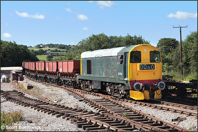 20154 shunts a rake of hoppers prior to loading at Foxfield Colliery on 13/07/2008.