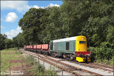 20154 stands at Dilhorne Park awaiting the road down the bank to Foxfield Colliery with a short rake of empties on 13/07/2008.