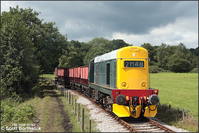 20154 descends Foxfield bank whilst working a rake of empties to Foxfield Colliery on 13/07/2008.