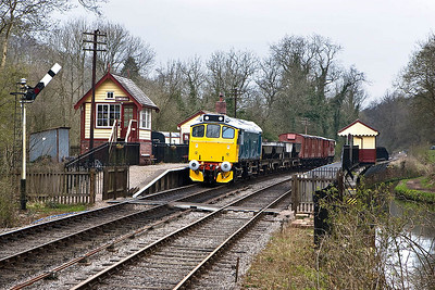 25322 'Tamworth Castle' gets the road at Consall with a mixed freight on 19/04/2008.