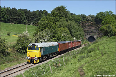 25322 'Tamworth Castle' heads a short rake of vans out of Cheddleton tunnel on 01/06/2009.