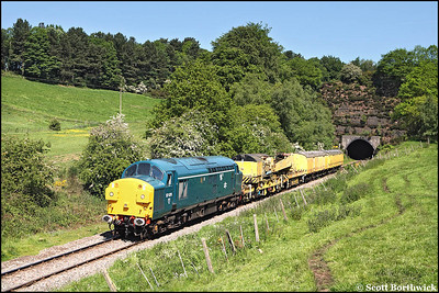 37075 heads a breakdown train out of Cheddleton tunnel on 01/06/2009.