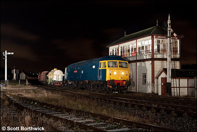 47401 'North Eastern' gets the road at Swanwick Junction with a mixed freight on 12/12/2009.