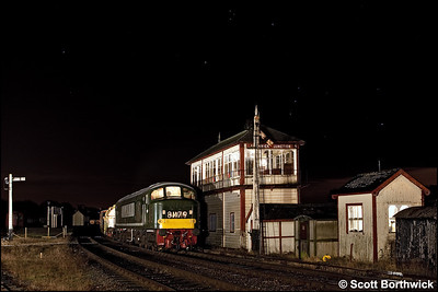 The constellation of Orion looks down on D182 (46045) as it restarts a mixed freight away from Swanwick Junction on 12/12/2009.
