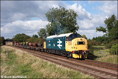 37314 'Dalzell' passes Woodthorpe with a rake of empty ballast hoppers on 14/09/2009.