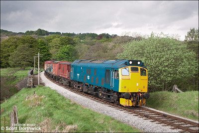 25059 hauls a short freight at Mytholmes on 21/05/2013.