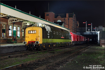 D9016 'Gordon Highlander' arrives at Loughborough with a Travelling Post Office working on 02/04/2014.