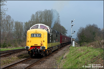 D9016 'Gordon Highlander' restarts it's train after a signal check at Quorn & Woodhouse on 02/04/2014.