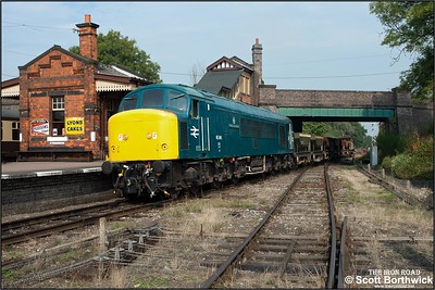45041 'Royal Tank Regiment' passes Quorn & Woodhouse with a short ballast train on 29/09/2014.