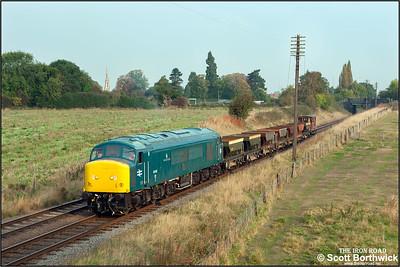 45041 'Royal Tank Regiment' passes Woodthorpe with a short ballast train on 29/09/2014.