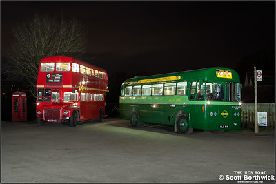 Green Line liveried AEC Regal RF281, MLL 818 and AEC Routemaster RML 900, WLT 900 stand outside North Weald station on 28/03/2015.