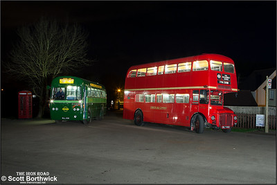 AEC Routemaster RML 900, WLT 900 and Green Line liveried AEC Regal RF281, MLL 818 stand outside North Weald station on 28/03/2015.
