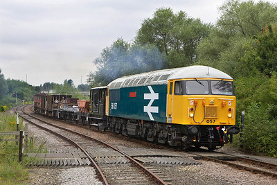 56057 is pictured during its first run past at Longueville Jnct on 22/07/2005.