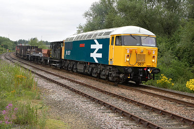 56057 is here seen awaiting instructions at Longueville Jnct on 22/07/2005.