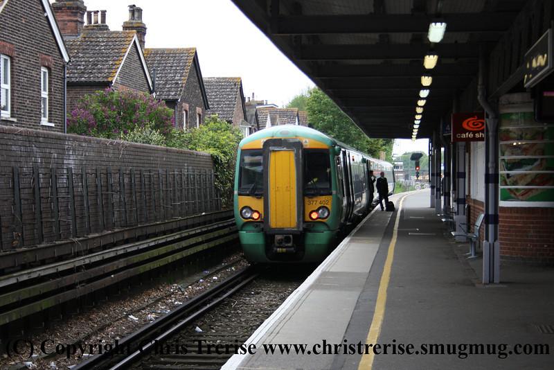 Class 377 3 Car EMU number 377 402 at Tonbridge.<br /> 18th May 2012