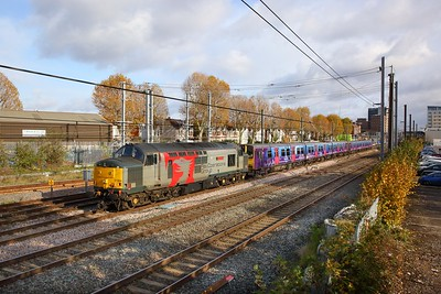 37884+313061+313039 on the 5Q78 1052 Hornsey Depot to Newport Docks at West Ealing on the 11th November 2019