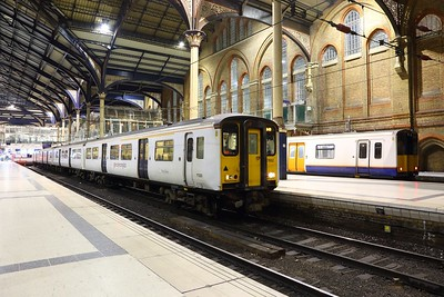 317652 on the 2O22 London Liverpool Street to Hertford East at London Liverpool Street on the 26th February 2018