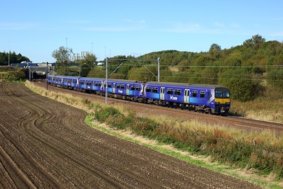 320420 leading 320315 on 2E74 1137 Balloch to Airdrie at Manse Road, Bargeddie east of Easterhouse on 2 October 2020  Class320, Scotrail, NorthClydeline