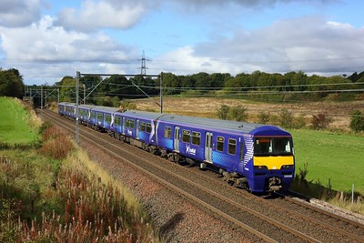 320308 leading 318256 on 2E70 1037 Balloch to Airdrie east of Easterhouse at Manse Road, Bargeddie on 1 October 2020  Class320, Scotrail, NorthClydeline