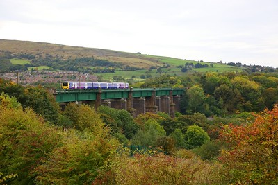 323223 on the 2G11 1459 Manchester Piccadilly to Dinting at Dinting viaduct on the 7th October 2018  Cancelled at Glossop and Hadfield due to trespass