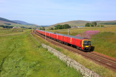 325009 leading 325013 and 325005 on 1M44 Shieldmuir to Warrington at Littlegill on 23 July 2021  Class325, DBCargo, ClydeValley, WCMLScotland