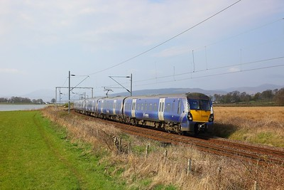 334028+334035 on the 2H44 1456 Helensburgh Central to Edinburgh nearing Cardross on the 8th April 2019