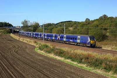 334008 leading 334004 with 2H56 1150½ Helensburgh Central to Edinburgh east of Easterhouse at Manse Road, Bargeddie on 2 October 2020  Class334, Scotrail, NorthClydeline