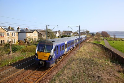 334027 on the 2H09 1348 Edinburgh to Helensburgh Central at Cardross on the 8th April 2019