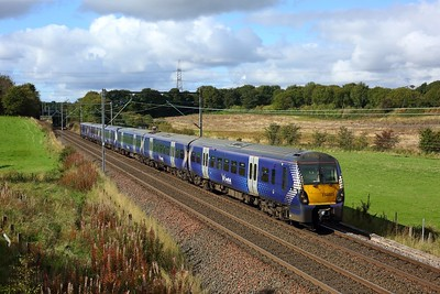 334023 leading 334006 working 2H54 1126 Helensburgh Central to Edinburgh east of Easterhouse at Manse Road, Bargeddie on 1 October 2020  Class334, Scotrail, NorthClydeline