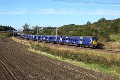 334011 leading 334019 on 2H54 1126 Helensburgh Central to Edinburgh east of Easterhouse at Manse Road, Bargeddie on 2 October 2020  Class334, Scotrail, NorthClydeline